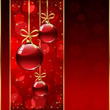 Red background with Christmas balls Stock Image