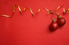 Red background with Christmas balls Stock Photo