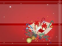 Red Background of Christmas Ornament in Gift Boxes Stock Photo