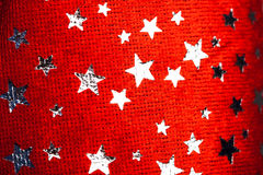 Red background with Christmas stars Stock Photography