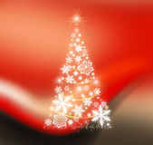 Red background with Christmas tree Royalty Free Stock Image