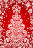 Red background with Christmas tree. Lace Stock Image