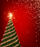 Red background with Christmas tree. Red luminous background with green Christmas tree. Vector illustration Stock Images