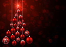 Red background with Christmas tree. royalty free illustration