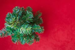 Red background with a Christmas tree. Royalty Free Stock Image
