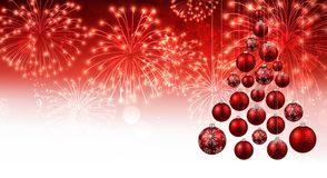 Red background with Christmas tree. Royalty Free Stock Photography