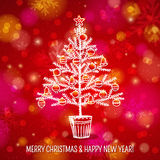 Red background with christmas tree, vector. Illustration royalty free illustration