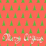 Red background with Christmas trees. A lot of Christmas trees on a red background with the words Merry Christmas magic Stock Photos