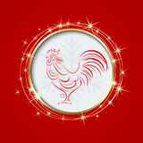 Red background with a circle.Inside the the symbol of 2017 Rooster. Christmas, frame,invitation,greeting card.Red background with a circle.Inside the circle the royalty free illustration