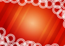 Red background with circles. Background with white double circles on red striped fond Stock Photo
