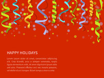Red background with colorful streamers Stock Photos