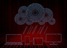 Red background with computer cloud with rain of numbers Royalty Free Stock Photography