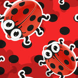 Red background with cute cartoon ladybug Royalty Free Stock Images