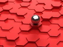 Red background of 3d hexagons and steel sphere Royalty Free Stock Image