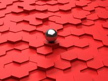 Red background of 3d hexagons and steel sphere Royalty Free Stock Images