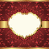 Red  background. Dark red  background with golden frame and baroque ornaments Royalty Free Stock Image