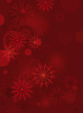 Red background with delicate snowflakes Stock Photo
