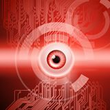 Red background with eye and circuit. Abstract red background with eye and circuit. EPS10 vector background royalty free illustration