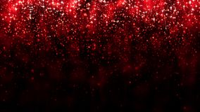 Red background falling glitter particles. Beautiful festive sparkling background. Particle bokeh magic light. Valentines day