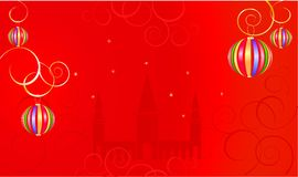 Red background with a fantasy balloons Royalty Free Stock Photo