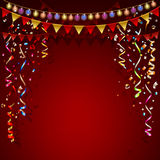 Red background. Festive garland and colorful flags. Royalty Free Stock Images