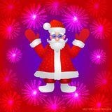 Background with a figure of Santa Claus with hands up on a red background and stylized luminous flowers. Vector. Red background with a figure of Santa Claus Royalty Free Stock Photos