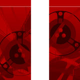 Red background with filmstrip and coils. Red background with lots filmstrip and coils Royalty Free Stock Photo