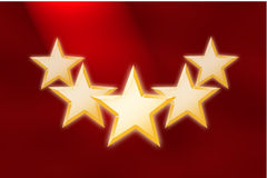 Red Background with Five Stars Royalty Free Stock Image