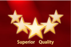 Red Background with Five Stars Stock Photography
