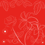 Red background with flowers Stock Photos