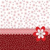 Red background with flowers Stock Photo