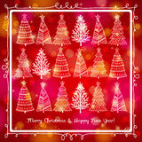 Red  background with forest of christmas trees, ve Stock Images