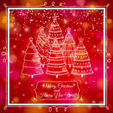Red background with forest of christmas trees, vec Royalty Free Stock Image