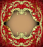 Red background with frame with gold(en)(en) sample Royalty Free Stock Image