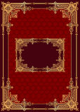 Red background with frame with gold(en) pattern Royalty Free Stock Image