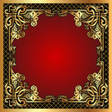 Red background frame with gold(en) pattern and net Stock Photo