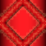 Red background frame with gold ornament Stock Image