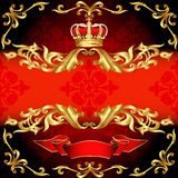Red background frame gold pattern and corona Royalty Free Stock Image