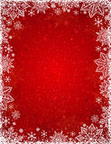 Red background with frame of snowflakes and stars, vector stock image