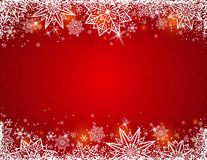 Red background with frame of snowflakes and stars, vector royalty free stock images