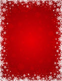 Red background with frame of snowflakes and stars, vector stock images