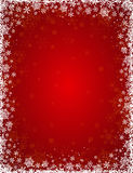 Red background with frame of snowflakes, vector Stock Images