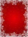 Red background with frame of snowflakes, vector. Illustration stock illustration