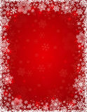 Red background with  frame of snowflakes Stock Images