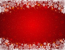 Red background with  frame of snowflakes Stock Photos