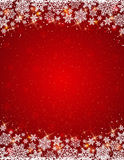 Red background with  frame of snowflakes Stock Photo