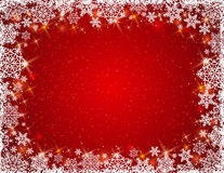 Red background with frame of snowflakes, vector Royalty Free Stock Image