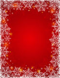 Red background with  frame of snowflakes,  vector Royalty Free Stock Photography