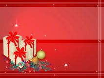 Red Background of Gift Boxes on Fir Twigs and Chri. Three Gift Boxes Decorated on Christmas Tree Branches and Christmas Balls or Christmas Ornaments on Red Stock Photography
