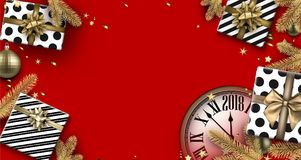 Red 2018 background with gifts and clock. Stock Photos